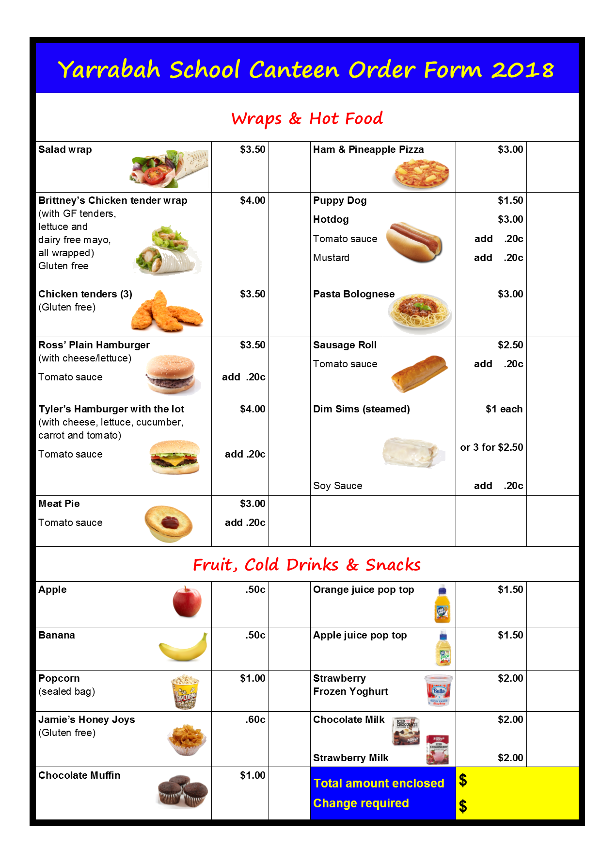 canteen order form